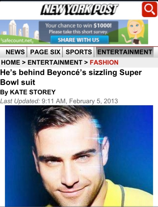 HE'S BEHING BEYONCE'S SIZZLING SUPER BOWL SUITE