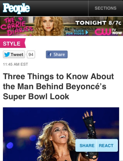 PEOPLE.com Three Things to Know About the Man Behind Beyoncé's Super Bowl Look
