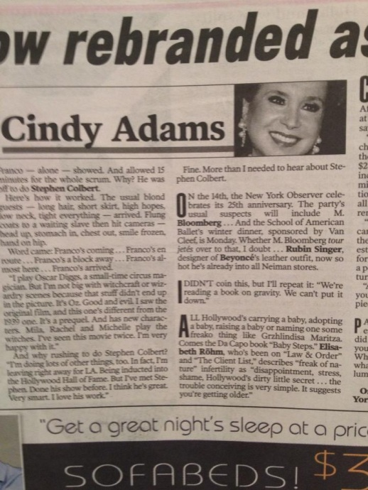 CINDY ADAMS QUOTES RUBIN SINGER IN THE NEW YORK POST