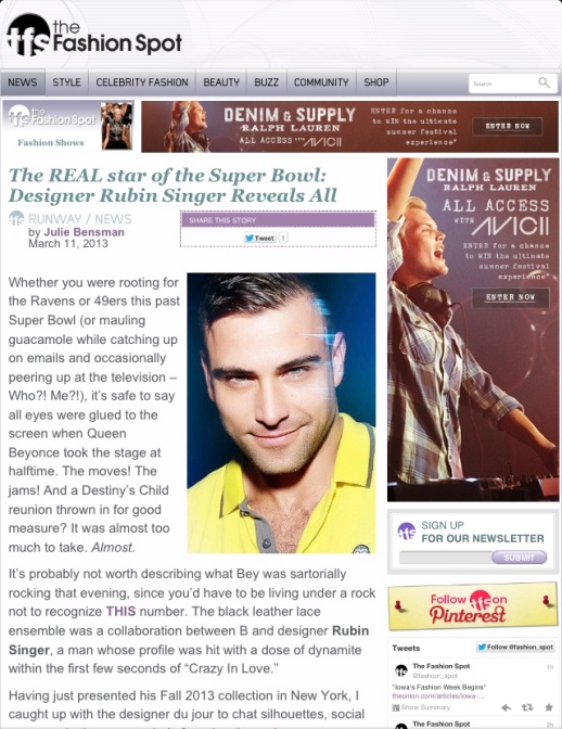 THE FASHION SPOT FEATURES RUBIN SINGER