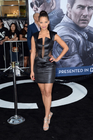 DENISE VASI WEARING RUBIN SINGER ARRIVES AT OBLIVION FILM PREMIER IN LOS ANGELES