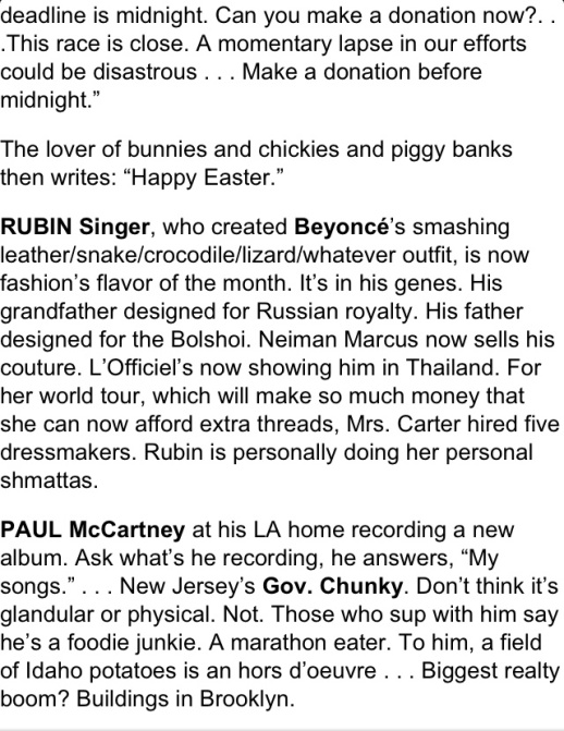 CINDY ADAMS DESCRIBES RUBIN SINGER AS THE FASHION FLAVOR OF THE MONTH ON THE NEW YORK POST
