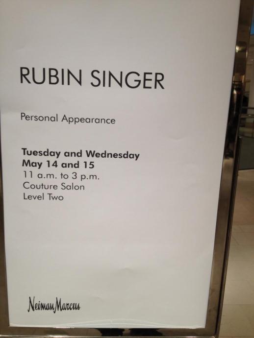 RUBIN SINGER's PERSONAL APPEARANCES AT NEIMAN MARCUS SCOTTSDALE