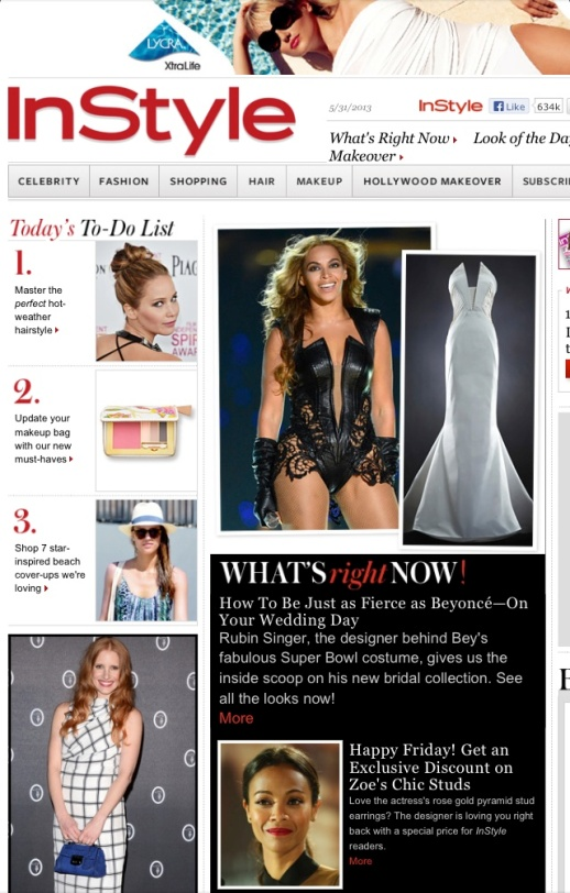 InStyle.com features Rubin Singer's 2014 Bridal Collection