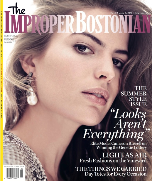 CAMERON RUSSELL FOR THE IMPROPER BOSTONIAN WEARING RUBIN SINGER