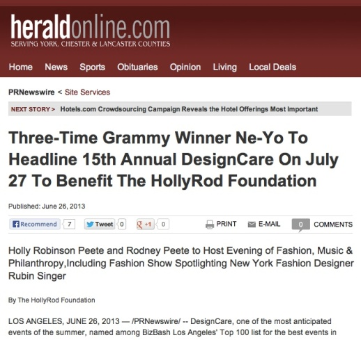THE HOLLYROD FOUNDATION, NE-YO AND RUBIN SINGER TOGETHER FOR THE 15TH ANNUAL DESIGNCARE