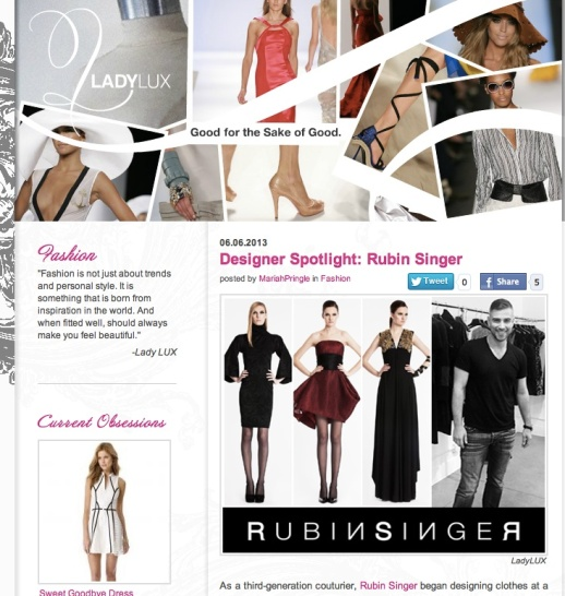 LADY LUX DESIGNER SPOT: RUBIN SINGER