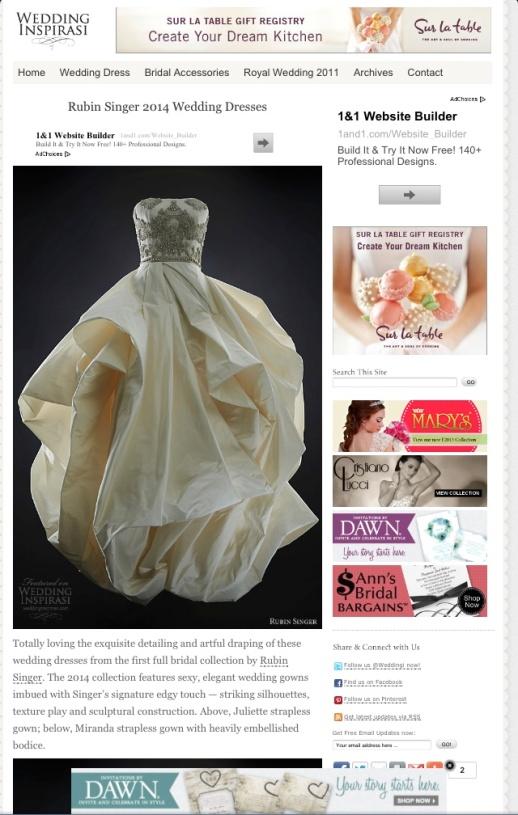 RUBIN SINGER 2014 WEDDING DRESSES BY WEDDING INSPIRASI