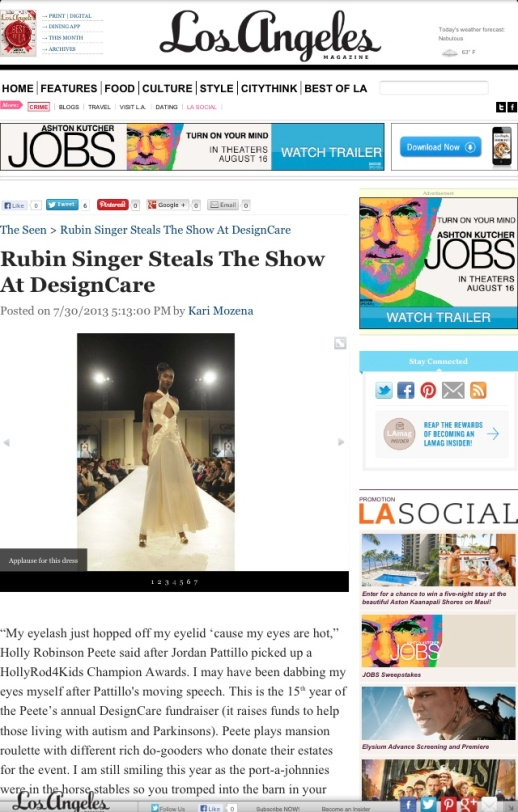 LOS ANGELES MAGAZINE SAID: RUBIN SINGER STEALS THE SHOW AT DESIGN CARE
