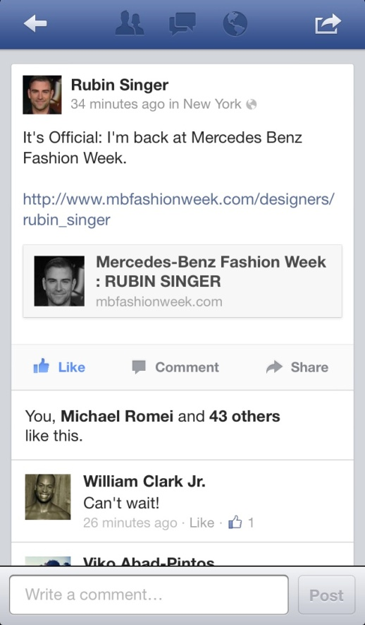 RUBIN SINGER IS BACK TO MERCEDES-BENZ FASHION WEEK NEW YORK