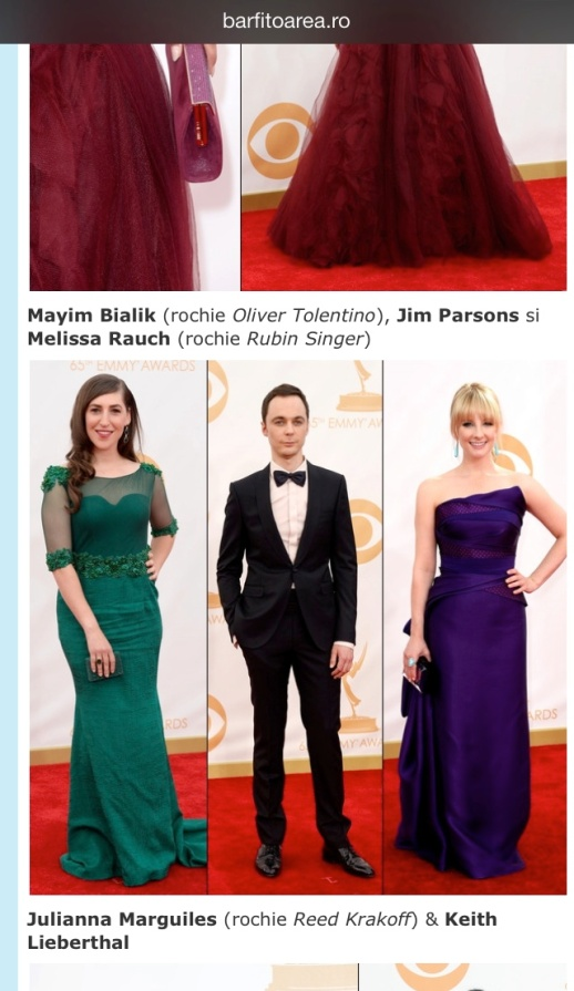 barfitoarea.ro Press Clipping Melissa Rauch wearing Rubin Singer at 65th EMMY Awards Red Carpet