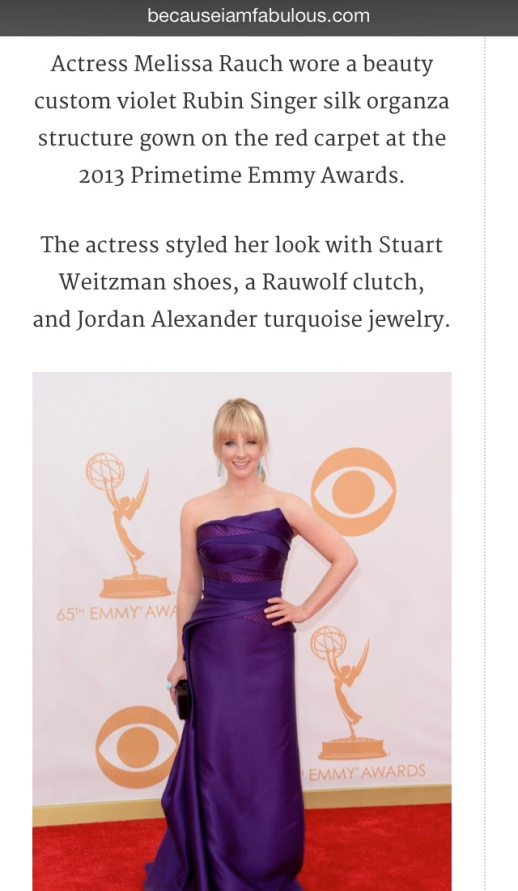 Becuase I am Fabulous barfitoarea.ro Press Clipping Melissa Rauch wearing Rubin Singer at 65th EMMY Awards Red Carpet
