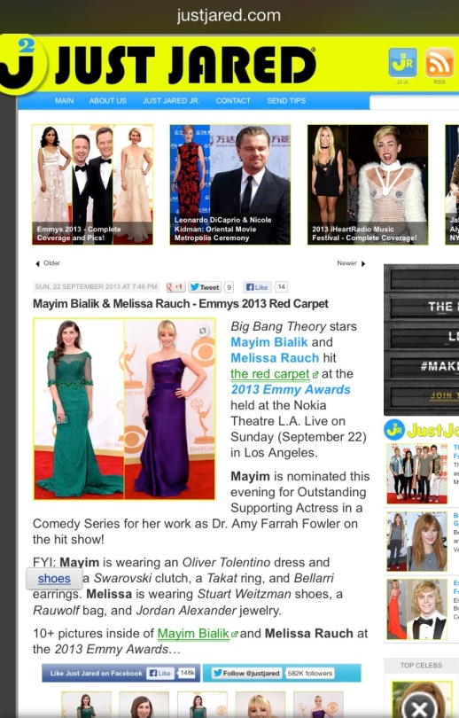 Just Jared barfitoarea.ro Press Clipping Melissa Rauch wearing Rubin Singer at 65th EMMY Awards Red Carpet