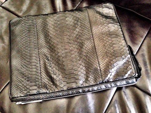 Black Python Skin padded Laptop Case by Rubin Singer