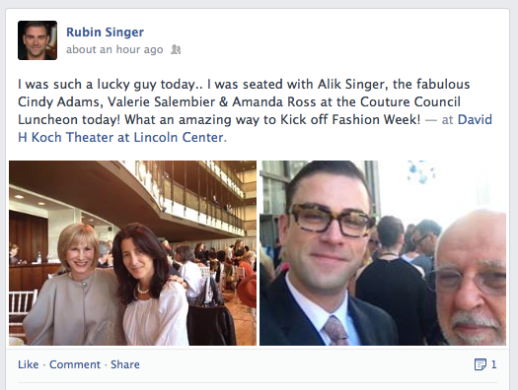 Rubin Singer seen at the Couture Council Luncheon