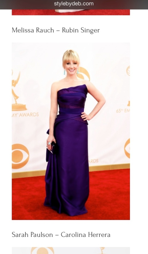 Style by Deb barfitoarea.ro Press Clipping Melissa Rauch wearing Rubin Singer at 65th EMMY Awards Red Carpet