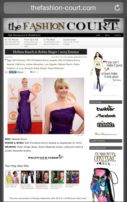 The Fashion Court barfitoarea.ro Press Clipping Melissa Rauch wearing Rubin Singer at 65th EMMY Awards Red Carpet