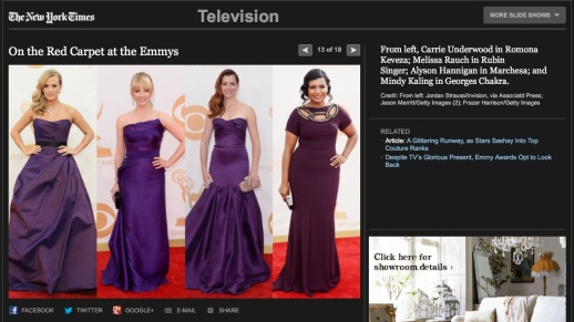 The New York TImes barfitoarea.ro Press Clipping Melissa Rauch wearing Rubin Singer at 65th EMMY Awards Red Carpet