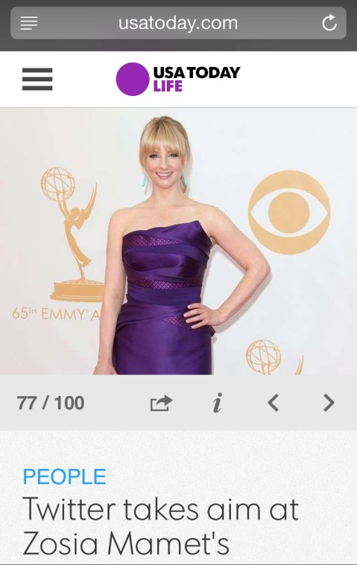 US Today barfitoarea.ro Press Clipping Melissa Rauch wearing Rubin Singer at 65th EMMY Awards Red Carpet