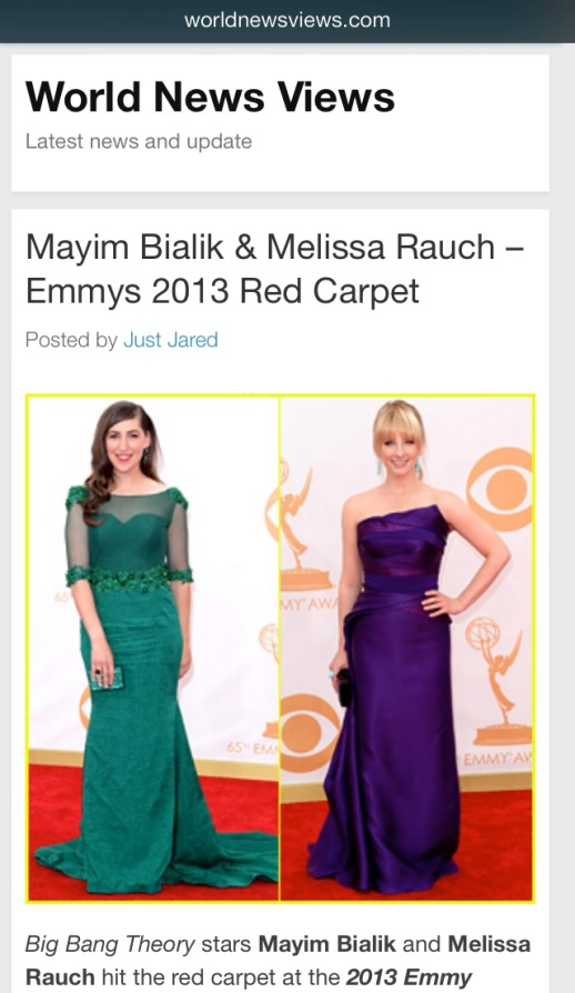 World view News barfitoarea.ro Press Clipping Melissa Rauch wearing Rubin Singer at 65th EMMY Awards Red Carpet
