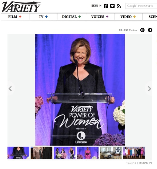 Abbe Raven encouraged women storytelling at Variety's Power of Women wearing Rubin Singer
