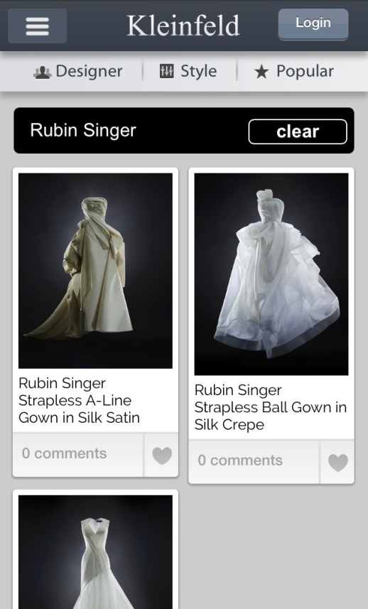 Rubin Singer Bridal now available at Kleinfield
