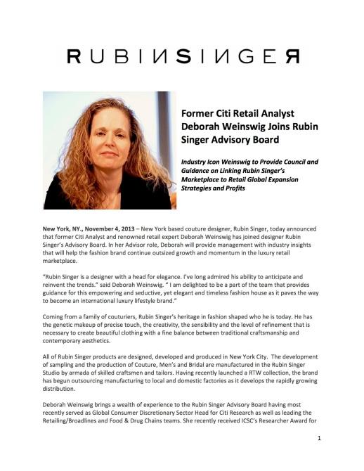 Former Citi Retail Analyst Deborah Weinswig Joins Rubin Singer Advisory Board