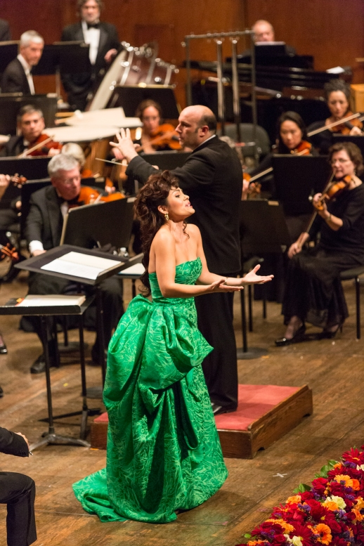 Soprano Aylin Perez performs live at the 2013 Richard Tucker Music Gala wearing Rubin SInger