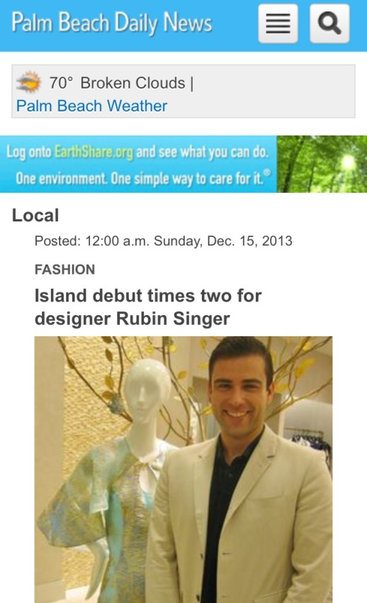 Palm Beach Daily News - Island debut times two for designer Rubin Singer