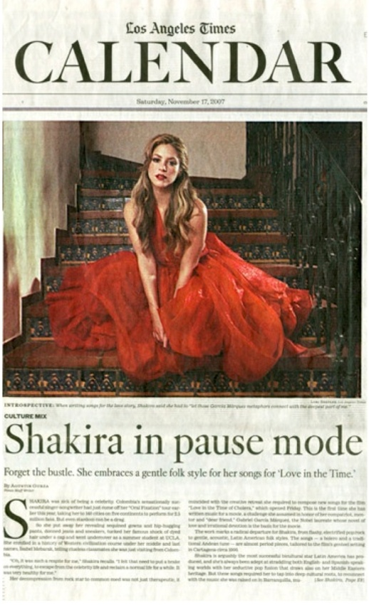 PHOTOS FROM THE VAULT: SHAKIRA ON LOS ANGELES TIMES BY RUBIN SINGER