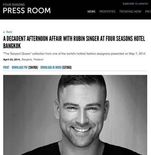 Four Seasons Press Room announces A Decadent Afternoon affair with Rubin Singer at Four Seasons Hotel Bangkok