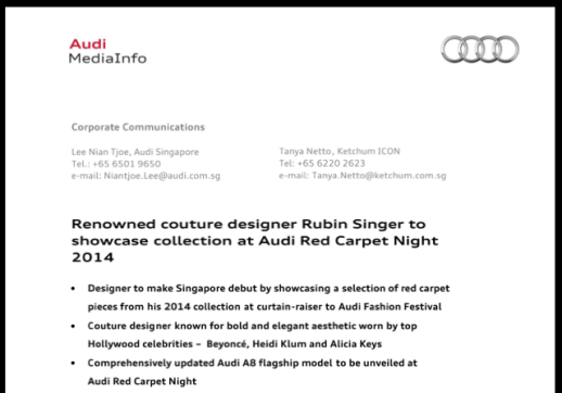 Renowned couture designer Rubin Singer to showcase collection at Audi Red Carpet Night 2014 in Singapore