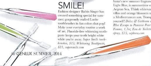 GENLUX Magazine features Rubin Singer's design for Supersmile's Crystal Collection Toothbrush