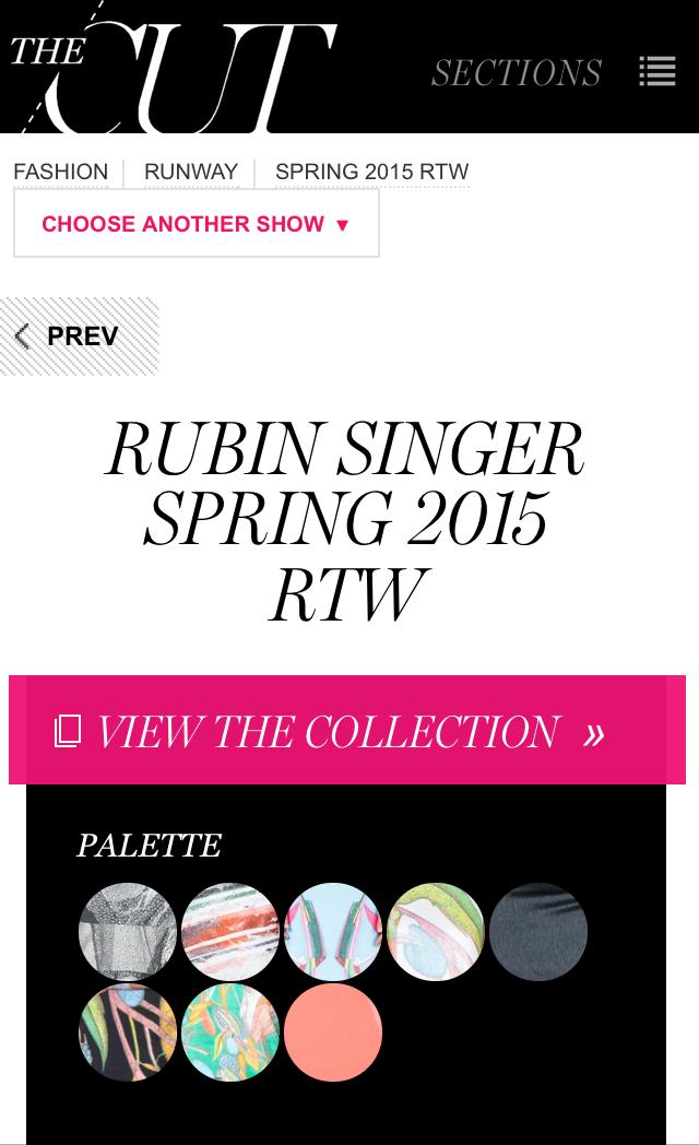 NY Mag says RUBINSINGER SS15 Ready-to-Wear made The Cut