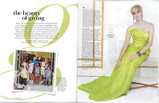 The O, The Oprah Magazine features a couture design by RUBINSINGER