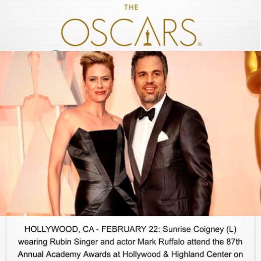 The Oscar website features RUBINSINGER couture creation for Sunsire Coigney
