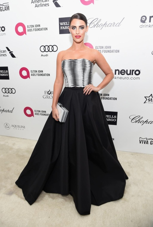 JESSICA LOWNDES WORE RUBINSINGER AT ELTON JONH'S OSCAR VIEWING PARTY